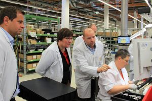 Iris Gleicke, Secretary of State for Industry in the new Federal States, visits Qundis in Erfurt